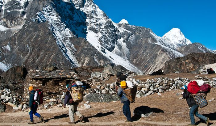 our porters supporting our Everest trekkers