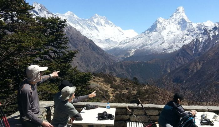 trekkers are enjoying views of mount Everest and more from Everest view hotel( 3860m)