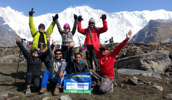 trekkers at Annapurna base camp- 4130 m