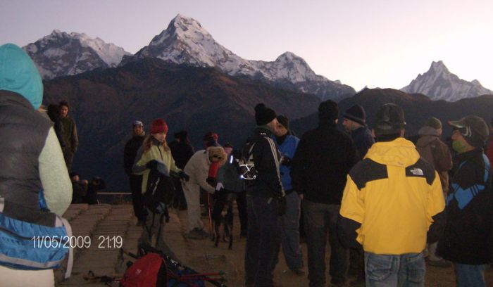 Trekkers at Poohill,waiting for sunrise over the annapurna & Fishtail