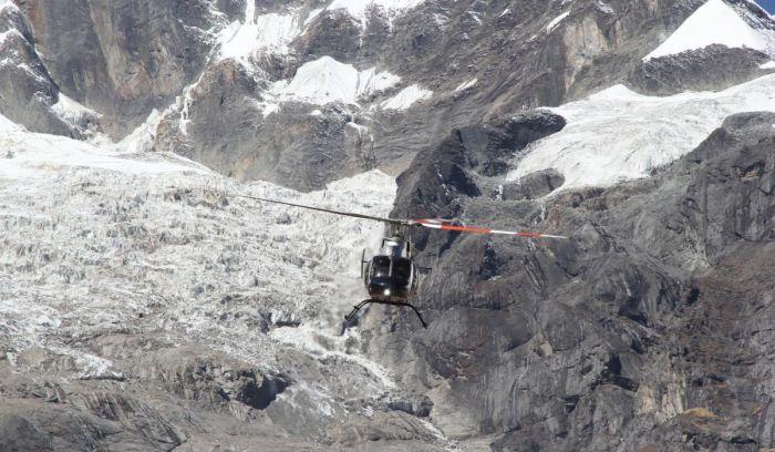 Helicopter sightseeing around Annapurna Glacier