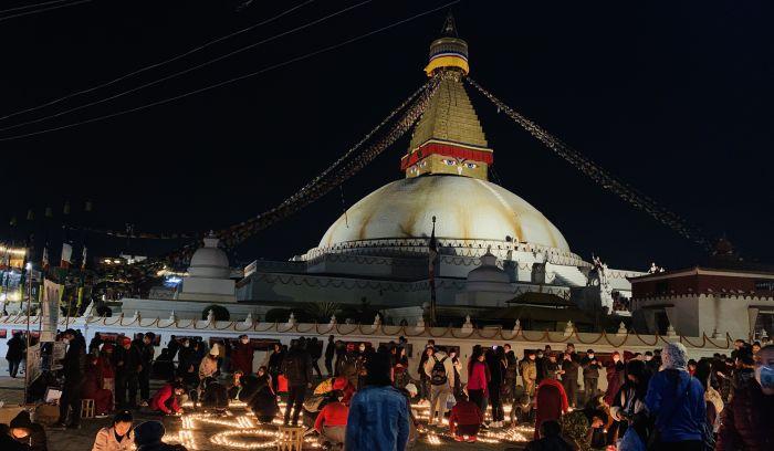 Evening view of Boudhanath Stupa in Kathmandu