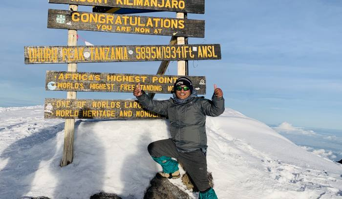 Pasang sherpa at Kilimanjaro( Africa's highest mountain)