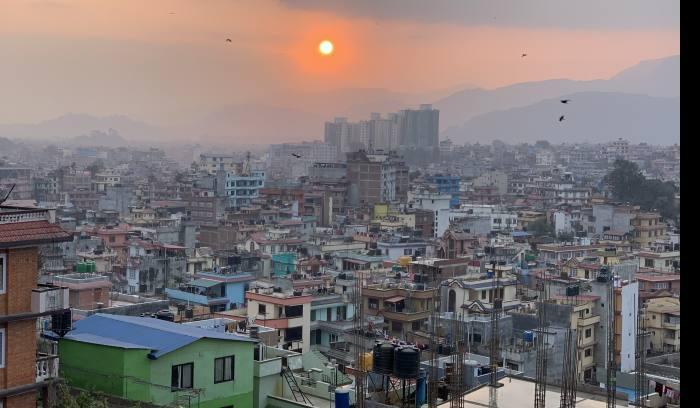 sun set View from sherpa sweet home Kathmandu